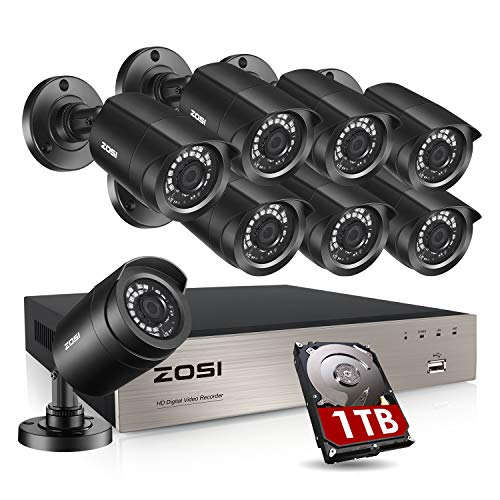 ZOSI 8CH 1080P Security Camera System Outdoor with 1TB Hard Drive H.265+ 8 Channel 5MP Lite Video DVR Recorder with 8X 1080P HD 1920TVL Weatherproof CCTV Cameras, Motion Alert, Easy Remote Access