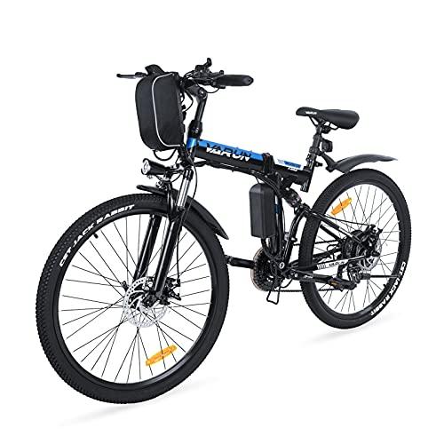 VARUN Faltbares E-Bike 26 Zoll ElektrofahrradMountainbike Klappbar Pedelec für Damen und Herren mit 250W Motor 36V 8 Ah Lithium-Ionen-Batterie Shimano 21-Gänge (Schwarz)