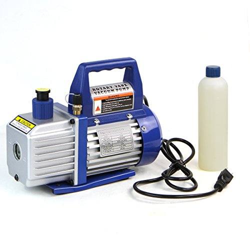 XtremepowerUS 1/4 HP Single Stage Rotary Vane Vacuum Pump 3 CFM Air Conditioner Refrigeration HVAC Air AC A/C R410a R134 (3 CFM)