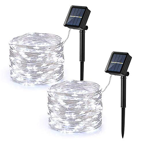 Brizled Outdoor Solar Fairy Lights, Solar String Lights 39.37ft 120 LED 2 Pack, 8 Modes Solar Christmas String Lights with Memory Waterproof Outside Twinkle Lights for Indoor Wedding Party Cool White