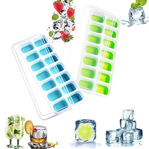 Stampi per ghiaccio con Coperchio Ice Cube Mold BPA-Free, Rilascio Facile Stampi per Ghiaccio, per Acqua, Cocktails, Drink, Whiskey e Succo
