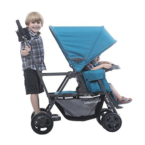 Best Ultralight (21.8 lbs) Double Tandem Baby Strollers, Car Seat Adapter, Travel System Ready, for 2, with Infants, Toddlers and Kids, Latest 2016 Model, Blue Color with Awesome Hooks Combo!