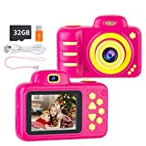 N//A Kids Camera Girls 18MP 1080p Video Recorder Selfie Children Digital Camera 2.4 inch Screen 32G SD Card Rechargeable Gift Toy for 3~12 Toddler