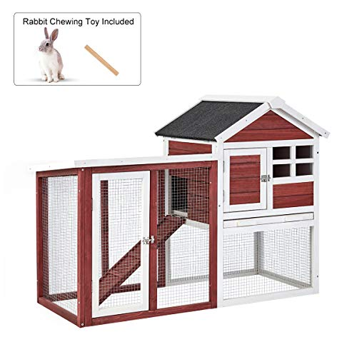 Esright Rabbit Hutch 45'' Rabbit Cage, 2-Tier Outdoor Large Wooden Bunny House with Ventilation Door, Removable Tray and Ramp, Red