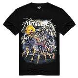 Maglia T-Shirt Maniche Corte - T-Shirt Metallica - Maschile - Ragazzo - Maschio - Uomo - Rock - Maniche Corte - Hard - Punk - Chitarra elettrica - Gruppo Musicale - Nero - Scheletro - Misura XXL