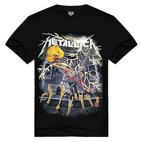 T-shirt met korte mouw - metalen t-shirt - mannelijk - jongetje - mannelijk - rock - korte mouwen - punk - elektrische gitaar - band - zwart - skelet - cadeau-idee