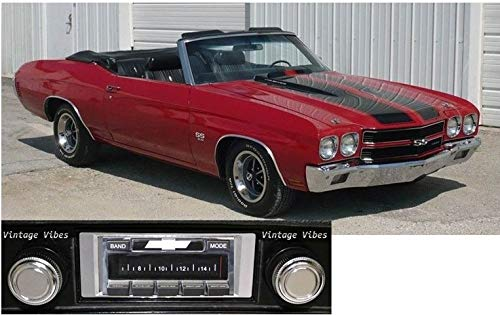 Custom Autosound Stereo + BLUKIT compatible with 1969-1972 Chevelle and/or El Camino, USA-630 II Bluetooth Enabled High Power 300 watt AM FM Car Stereo/Radio