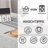 Vailge Tischdecke Rechteckige Tischtuch Leinendecke Leinen Tischdecke Abwaschbar, Tischdecken Wasserabweisend mit Quaste Edge Tischwäsche für Home Küche Dekoration (Grau, 140 x 180 cm) - 4