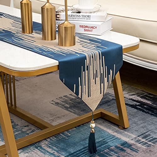 AAPOY Jute Tischläufer 1 Stücke Dunkelblau Tischläufer Wohnzimmer Esstisch Couchtisch Tv Schrank Abdeckung Tuch Hotel Bett Flagge 33 * 250Cm