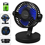Komphot Rechargeable Battery Operated Fan Portable Small Quiet USB Desktop Fan with Fold Strong Airflow 3 Speeds Personal Tabletop Fan Powered by USB for Office Home Travel Camping School (Black)