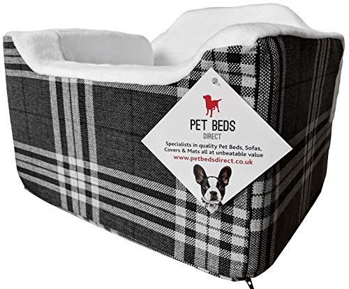 Pet Beds Direct - Seggiolino auto per cani e animali domestici, con imbracatura di sicurezza, misura media (32 x 55 x 55 cm), colore: antracite