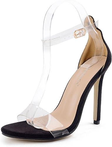 SASA Sandalias de mujer de Tacón Alto Sandalias Transparentes de la Película Súper Tacón de Aguja Moda Pasarela zapatos de Gran Tamaño