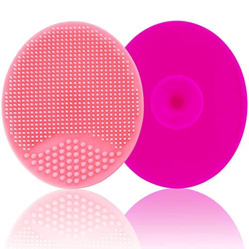 Cepillo de baño para bebé, cepillo de masaje de silicona, cepillo exfoliante de silicona   El SkinSoother bebé esencial para piel seca, tapa de cuna y eczema (grande-rosa y rojo)