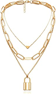ARZONAI Women's Punk Vintage Stainless Steel Layered Portrait Lock Pendant Chunky Thick Cuban Link Chains Choker Necklace...