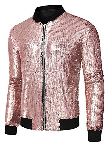 Lars Amadeus Men's Varsity Jacket Halloween Party Disco Shiny Sparkly Glitter Sequins Bomber Jacket Pink Large
