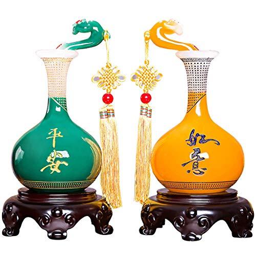 LJXLXY Feng Shui Dekoration Ping An Ruyi Vase Dekoration Paar Von Handwerk Heim Wohnzimmer Weinklimaschrank Porch Dekorationen Einweihungs New Home Geschenk Home Tisch Büro Feng Shui