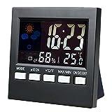 etbotu Termómetro de interior con sensor de sonido y movimiento el tiempo/temperatura/humedad/Fecha/Calendario Función de Snooze de pantalla digital retroiluminación LCD Travel Despertador