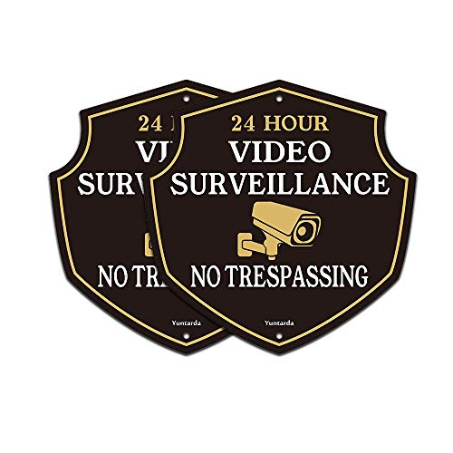 """Video Surveillance Signs,Yuntarda 12""""x12""""(2-Pack) No Trespassing Sign Aluminum Metal Sign UV Print Weather Resistant Safety Signs Pre-drilled Holes for Easy Mount for Wall Fence or Gate"""