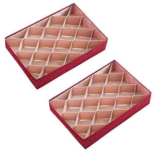ShinePine Organizador de Ropa Interior, Cajas de Almacenamiento de Ropa Interior, para Sujetadores, Calcetines, Corbatas y Bufandas, Rosa Rojo,Paquete de 2, 48 Celdas