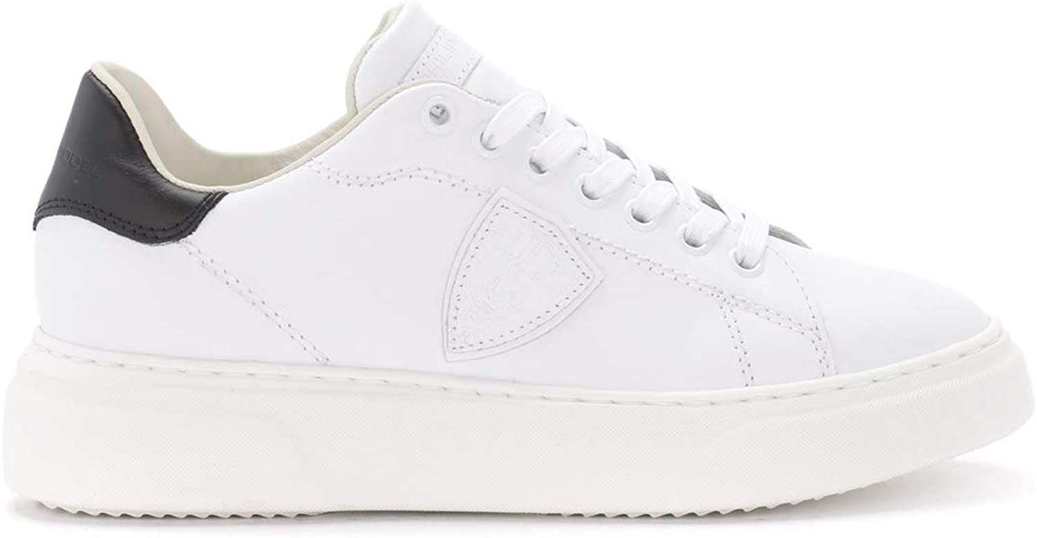 PHILIPPE MODEL Woman's Temple Black and White Leather Sneaker