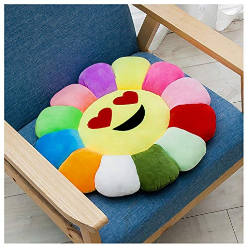 GHJL Floor Pillows Cushions For Kids Reading Nook, Sunflower Pillow Soft & Comfortable Sunflower Smiley Cushion Colorful Sun Flower Plush Toy (Color : Style 2, Size : 46cm)