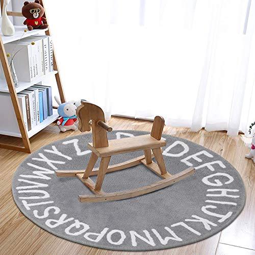 SHACOS Kinderteppich Grau Spielmatte Kinderzimmer Baby Krabbeldecke Babyteppich Spielteppich Kinder Kurzflor Kinderteppich Jungen Teppich Kinderzimmer Rund 120 cm