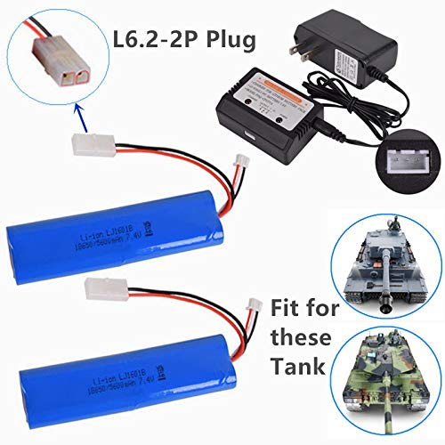 7.4V 5600mAh Li-ion Battery Large Capacity for Heng Long 3818 3889 3809 RC Tank L6.2-2P Plug 2 Pack with 7.4V Balance Charger