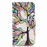 Yiizy Huawei P10 Lite Coque Etui, Arbres De Couleur Design Mince Flip PU Cuir Cover Couverture Rabat...