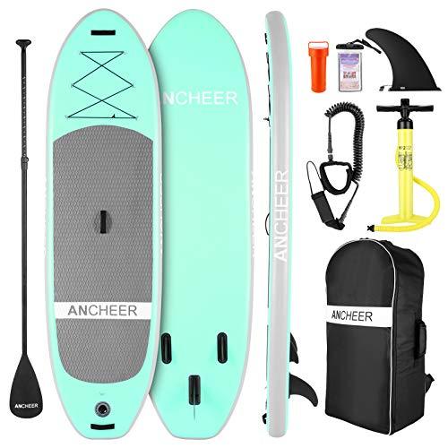 ANCHEER Tavola da Surf Stand Up Paddle 305×76×15cm SUP Board Gonfiabile con Accessori,capacità di Carico di 130 kg,3 PCS Polpa Regolabile, Pompa a Mano a Doppia,Cinghia per i Piedi,Zaino (Green)