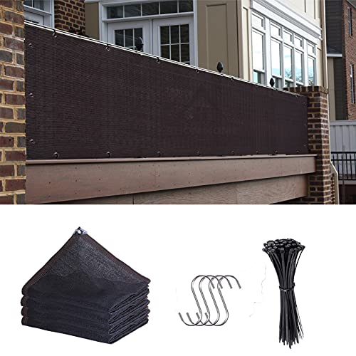 3ft x 10ft Black Privacy Fence Screen Sun Shade Mesh with Cable Ties UV Protection for Garden Outdoor Wall Porch Patio Backyard Balcony