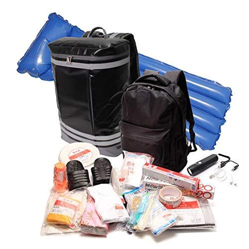 防災リュック BOX型バックパック 一時避難緊急セット 厳選33点装備 配給受け取り用や救急セット用に使えるサブバッグ付き カラー:ブラック