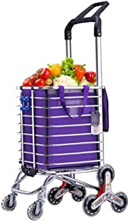 LQBDJPYS Folding Portable Household Cart Trolley Stainless Steel Triangle Wheel Foldable Does Not Take Up Space Folding Lu...