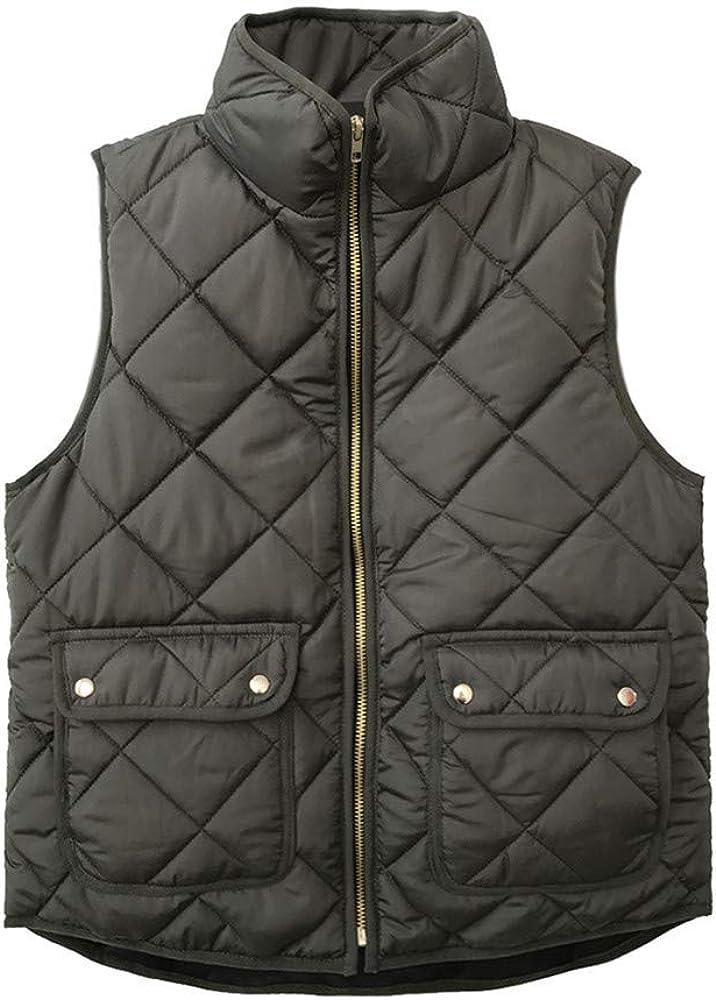 iQKA Women Lightweight Stand Collar Zip Up Quilted Gilet Puffer Padding Jacket Vest