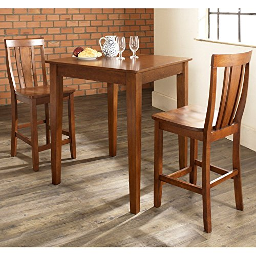 Big Sale Crosley 3-Piece Counter Height Dining Set with Tapered Leg and Shield Back Stools