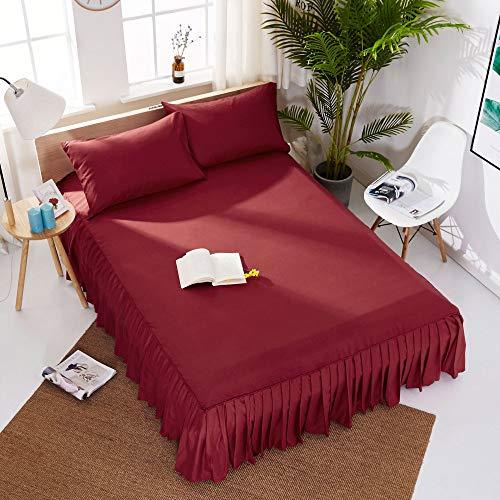 Hllhpc voor Europees wit bed geplooide lakens bed rok Hotel 1.8 M Bed Cover schuren Effen kleur schoonheid Bed Cover