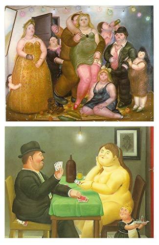 Cuadros Pintor/Artista Botero sobre Madera. Set de 2 Unidades de 19 cm x 25 cm x 4 mm unid. Adhesivo FÁCIL COLGADO. Adorno Decorativo. Decoración Pared hogar/cafetería