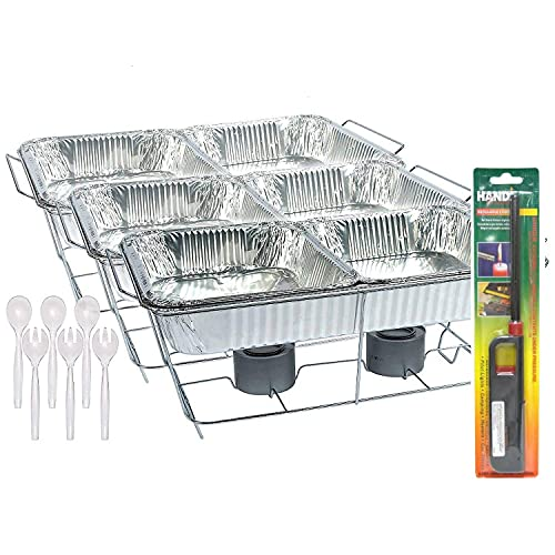 25 Pc Disposable Aluminum Chafing Dish Buffet Party Set WITH HANDY LIGHTER