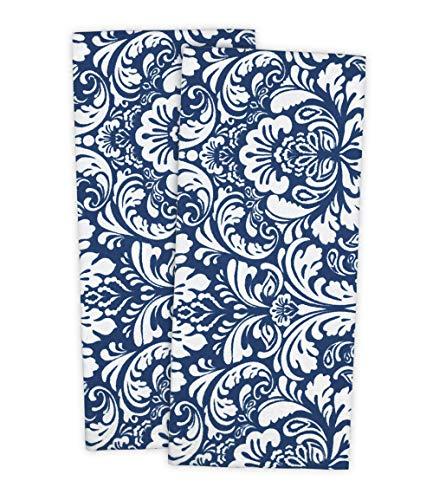 DII Toalla de cocina 100% algodón, lavable a máquina, grande, para uso diario, damasco estampado, inted Damask, 45.7 x 71 cm, juego de 2, color azul marino