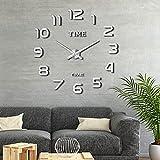 Comius Sharp Reloj de Pared Adhesivo, Sin Marco Reloj de Pared 3D, DIY Etiqueta de La Pared del Reloj Mudo Moderno, Reloj de Pared Digital para el Hogar, Oficina, Decoración de Pared del Hotel (Plata)