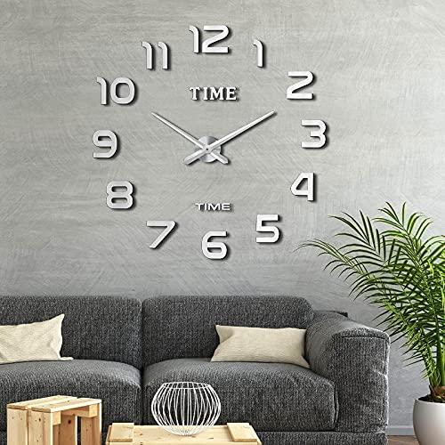 Comius Sharp Orologio da Parete DIY, Moderno 3D Frameless Grande Orologio, Numero Sticker Wall Clock per Soggiorno Cucina Ufficio Decorazione, Orologio da Parete Silenzioso (Argento)