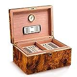 TIANYOU Humidores Cander Cedar Oficina Oficina Caja de Alenamiento Pino Pintura Pintura, Higrómero Intercado regalo/Marrón / 29.8x22x16.3cm