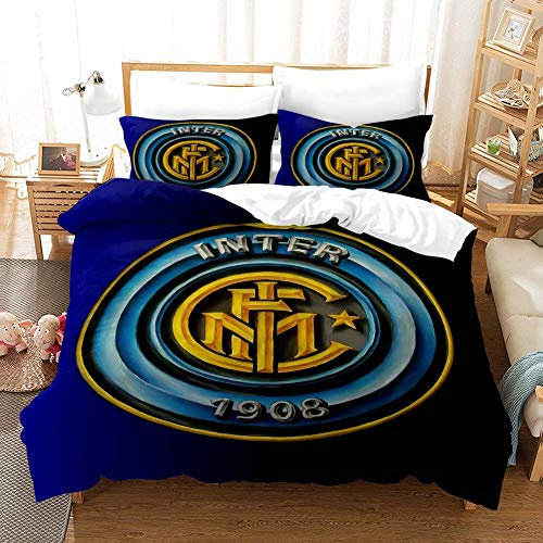 179 AOQIJIU Inter Mailand Fußball-Bett-Set, Bettwäsche Sportmannschaft Bettbezug Sets mit Kissen- Schlafzimmer-Satz 3PCS,200 * 230cm