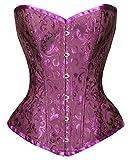 Bslingerie Womens Waist Cincher Boned Corset With Brocade (X-Large, Purple)