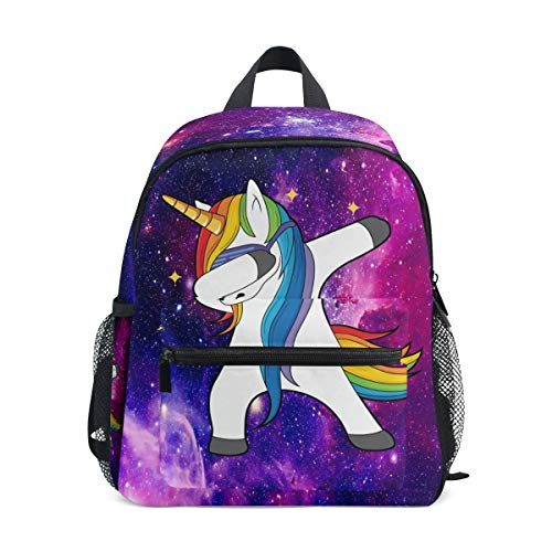 Dabbing Unicorn Backpacks for Kids Girls Boys Purple Galaxy Animals Preschool Toddler Bookbag with Chest Strap Star Rainbow Mini Elementary School Bags for Kindergarten 1st 2nd 3rd Grade