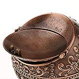 Hellery Vintage Mini Runde Kugel Mit 3D Handgefertigten Gestempelten Schmuck Aschenbecher Box - Rote Bronze - 4