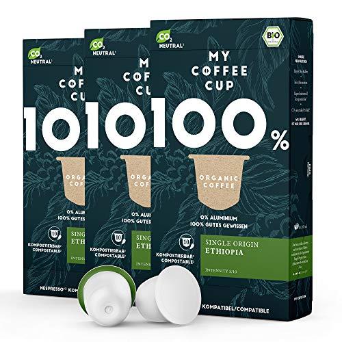 My Coffee Cup – SINGLE ORIGIN ETHIOPIA – BIO-KAFFEE 3 PACKUNGEN I 30 Kaffeekapseln für Nespresso®³Kapselmaschinen I 100% industriell kompostierbare Kaffeekapseln – 0% Alu I Nachhaltige Kaffeekapseln