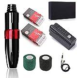 Fuente de alimentación para máquina de tatuaje de pluma, kit de pistola de tatuaje para principiantes, con batería de litio inalámbrica, kit de pluma de tatuaje mínimo