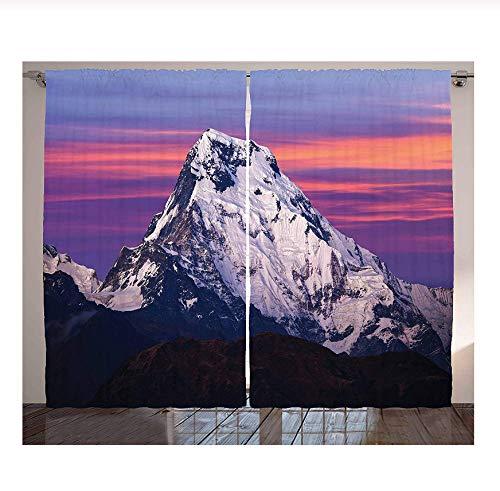WKJHDFGB Vorhang Verdunkelung,Himalaya Im Sonnenuntergang,Erwachsene Kinderzimmer Verdunkelungsvorhänge Schimmelresistente Polyestergewebe Fenstervorhänge (2 Panel) 245X340Cm