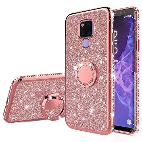Nadoli Glitzer Hülle für Huawei Mate 20,Kristall Diamant Strass Bumper mit 360 Ring Kickstand Silikon Schutzhülle Handyhülle Frauen Mädchen für Huawei Mate 20,Roségold