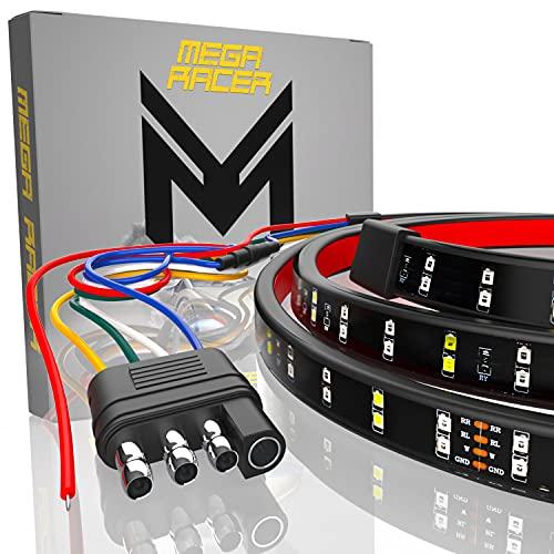 Mega Racer Double Row 60 Inch LED Tailgate Light Bar for Trucks - 5 Functions...